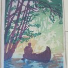 Rare Gladys Wilkins Murphy Art Signed Ltd Ed Color Woodcut Print Drifting 17/25 c 1920s 8x6 In