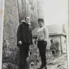 Vintage 1960s 8x10 Original B&W Photograph of Couple Near Castle Black & White Beehive Hairdo