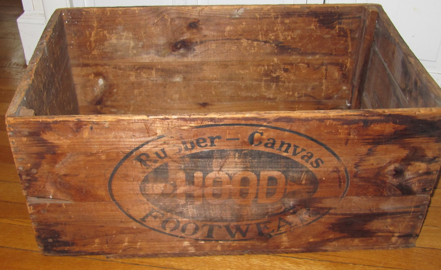 Large Vintage Hood Rubber Canvas Footwear Wooden Crate Box