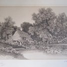 Antique L.H. King The Old Mill Engraving Framed Print Signed c 1897 with Remarque 26x21 In