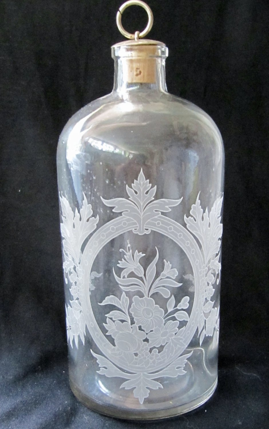Vintage Etched Clear Glass Bottle with Stopper Floral Leaf Design 8-3/8 Inches