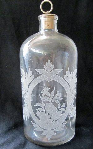 Vintage Etched Clear Glass Bottle With Stopper Floral Leaf