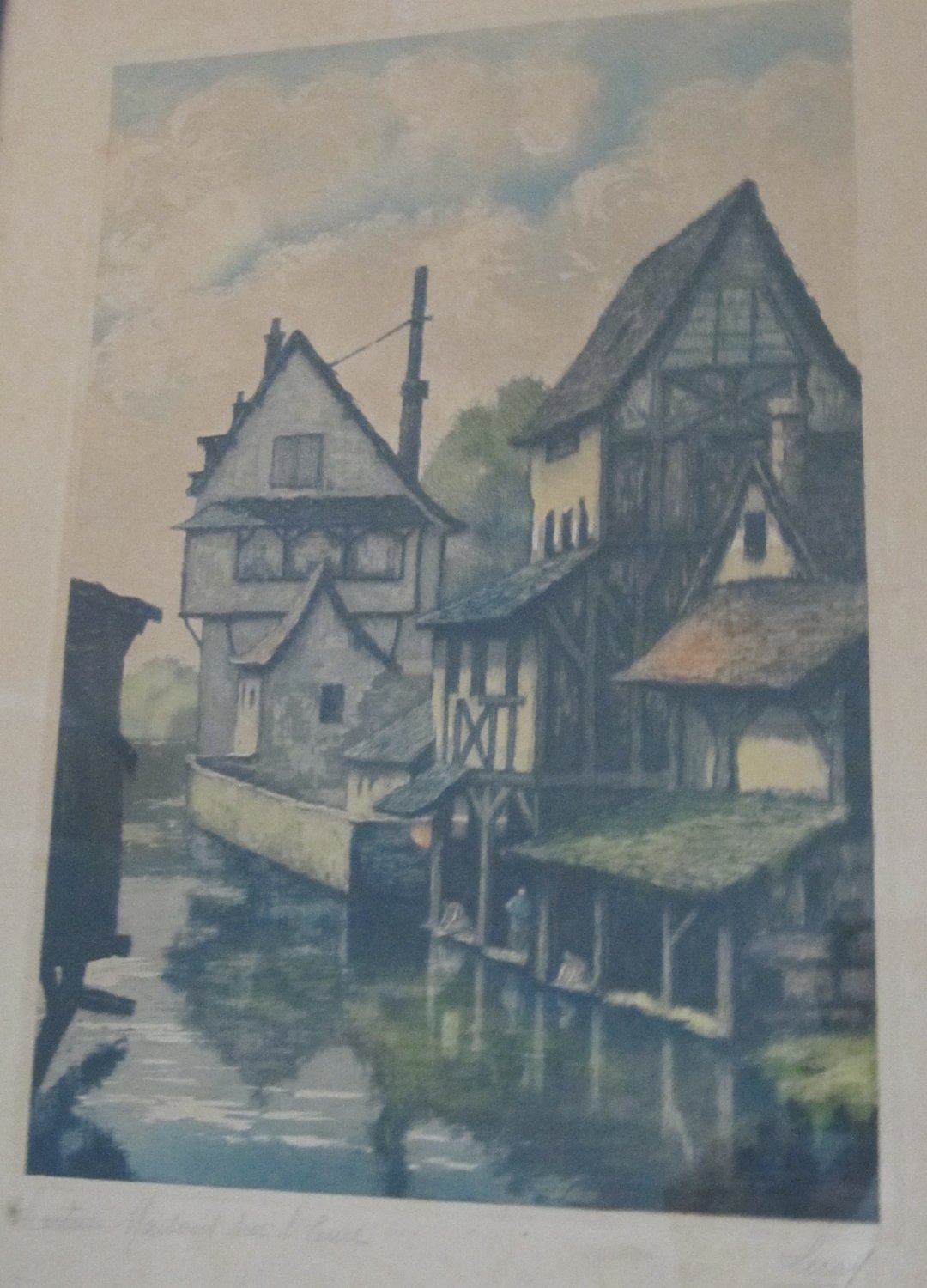 Vintage Signed Leray Hand Tinted Etching Painting Chartres Maisons sur l'Eure River in Wood Frame