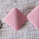 Vintage Pink Color Raised Shaped Square Pierced Earrings .875 Inch