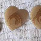 Vintage Peach Swirl Opalescent Color Heart Shaped Pierced Earrings .875 Inch