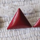 Vintage Ruby Red Color Triangle Shaped Metal Pierced Earrings 1 Inch