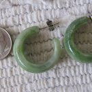 Vintage Light Green Swirl Faux Jade Hoop Style Pierced Earrings 1 Inch