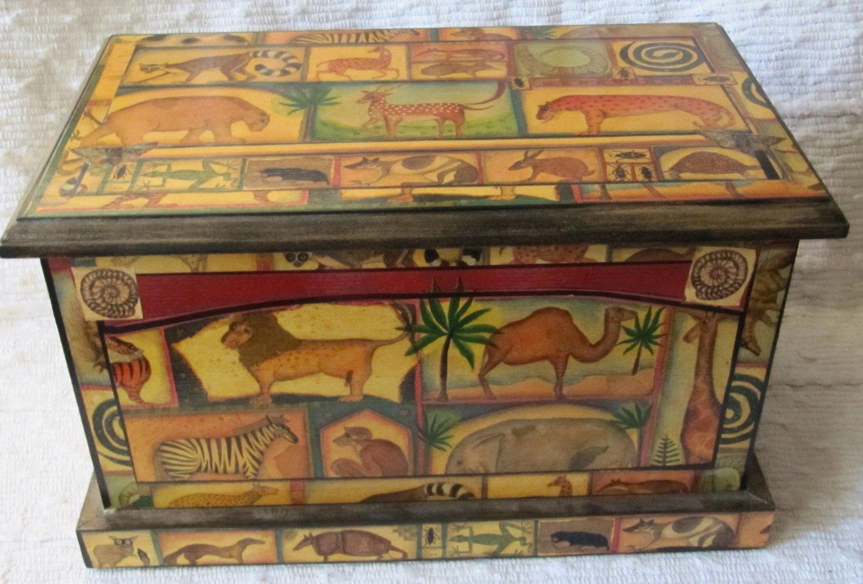 Vintage Roger la Borde Decoupage Lg Wooden Keepsake Box Lidded Nature Jungle Animals 14x8x8 In