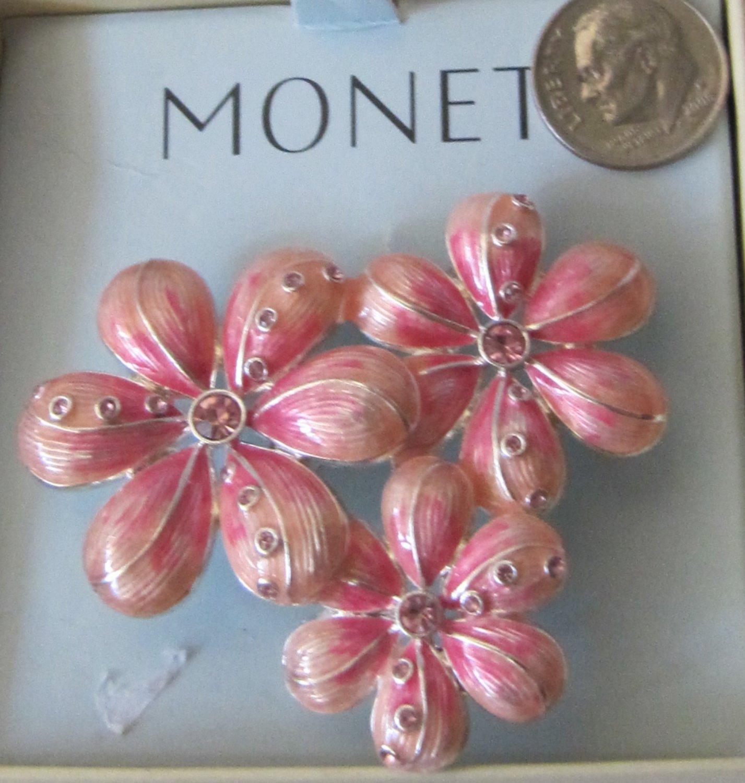 MONET Pink Flower Trio Pin Brooch MNRUI514 Figural Petals Rhinestones Silver Tone Back 2 Inch