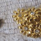 Vintage Scarf Pin Gold Tone Metal Flower Bouquet Figural Rhinestones 2 Inch