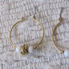 Vintage Pierced Earrings Gold Tone Metal Hoops with White Beads and Gold Love Knot 1.25 Inch