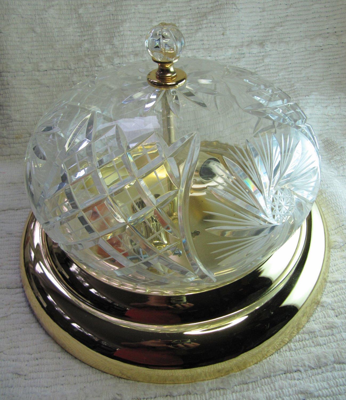 Cut Glass Bright Brass Ceiling Flush Mount Light Fixture 12 In