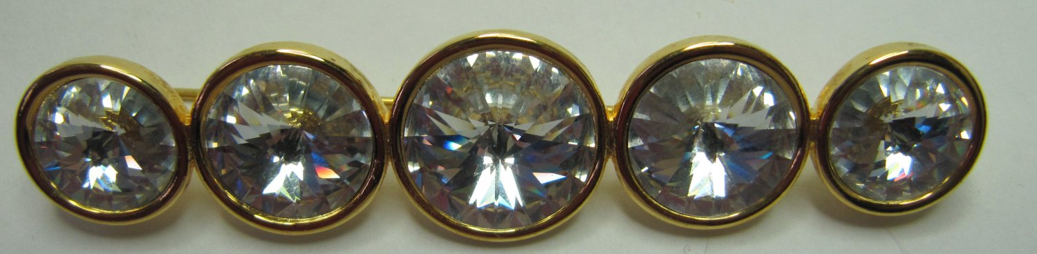 Vintage Brooch Pin Clear Crystals in Gold Tone Setting Faceted Highly Reflective Bar 3.25 Inch