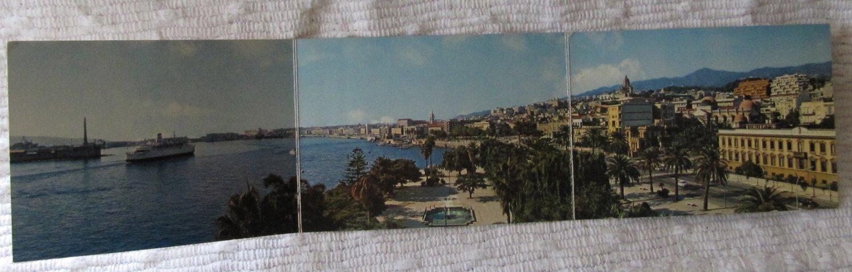 Vintage Panoramic Old Postcard 3 Panel Messina Italy Sea Promenade Color Kodak Ektachrome