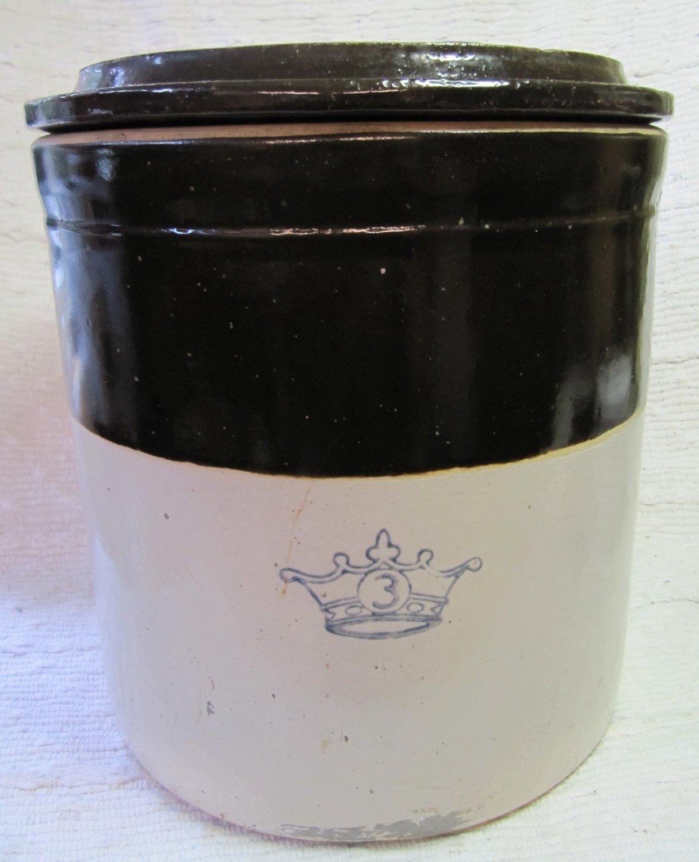 Robinson-Ransbottom Salt Glaze Stoneware Crock 3 Gal w Lid Brown White Blue Crown Mark Non-Electric