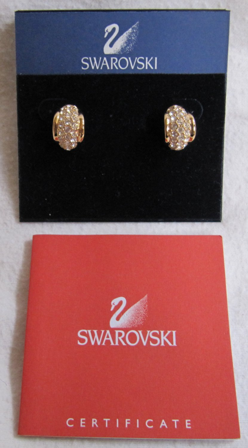 SWAROVSKI Crystal 14k Gold Posts Pierced Earrings with Certificate In Gift Box Never Worn .625 Inch
