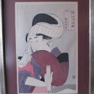 Vintage Framed Master Class Japanese Woodblock Ukiyo-e Reprint Beauty Holding a Yatate Writing Set