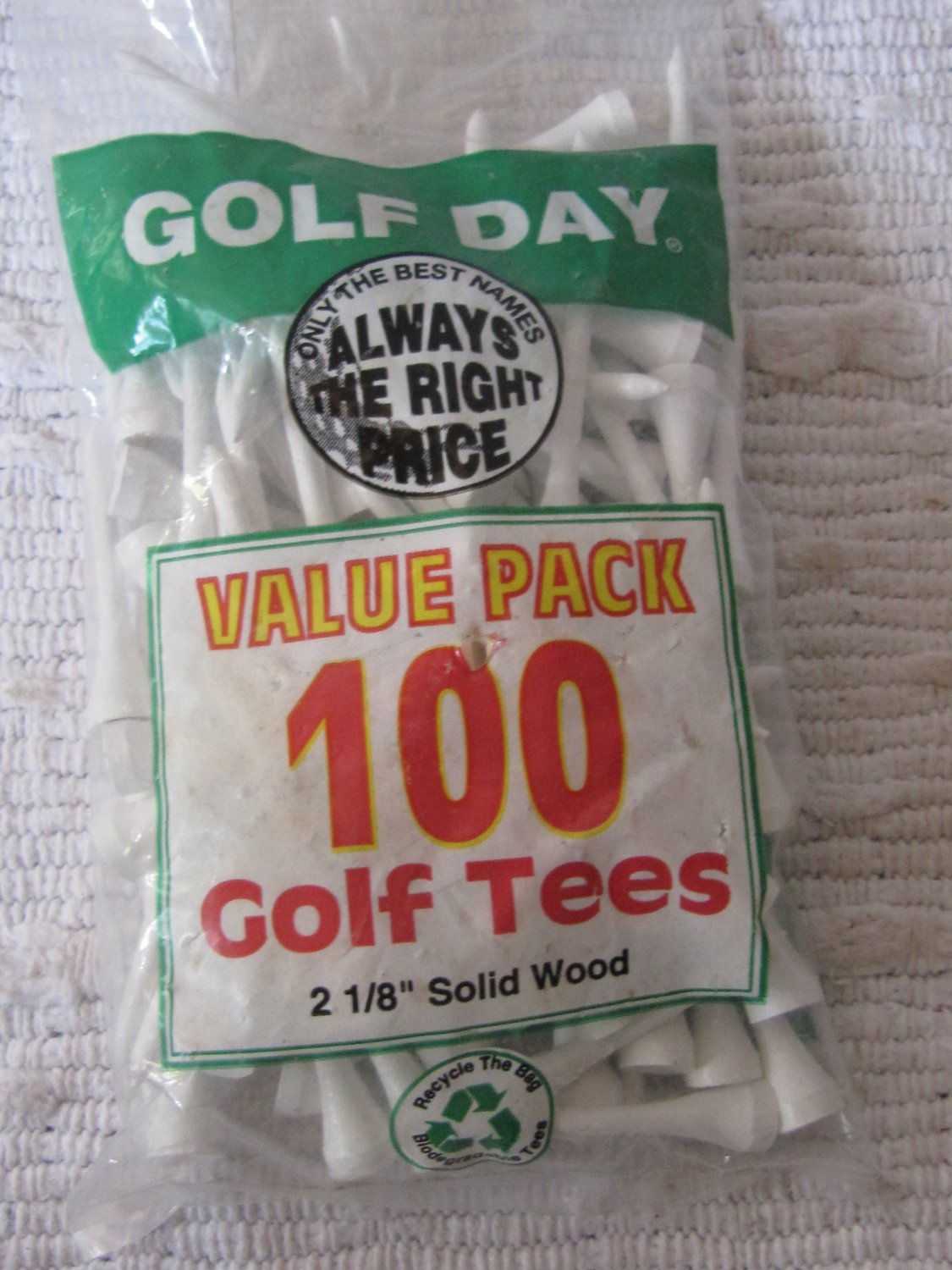 "100 Golf Day Golf Tees Solid Wood Painted White 2-1/8"" Size In Retail Package"