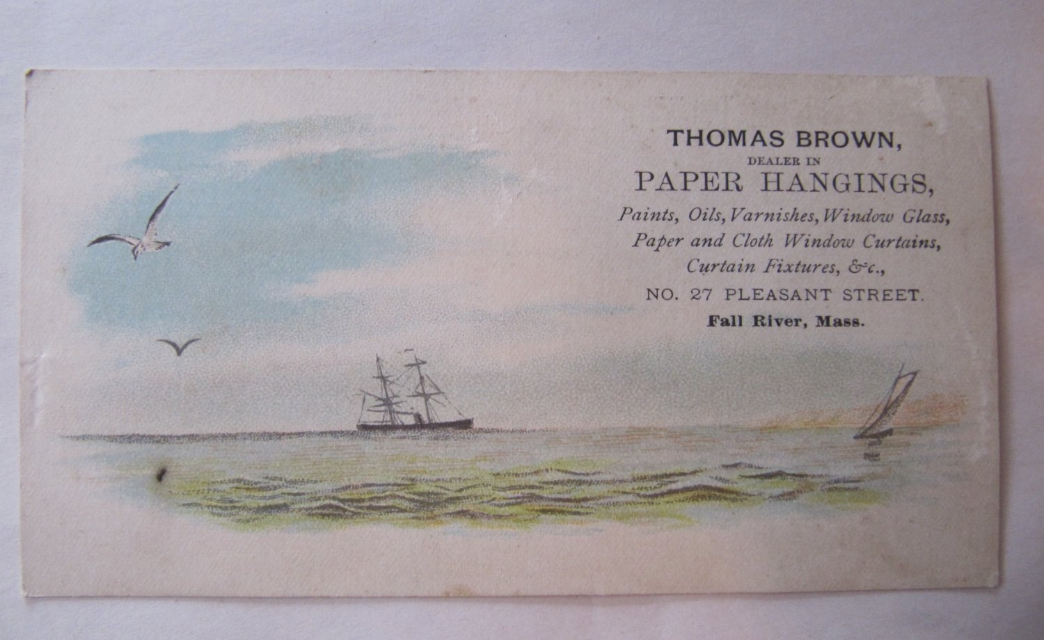 Rare c 1880s Antique Victorian Business Trade Card Thomas Brown Paper Hangings Fall River Tall Ship
