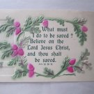 Vintage British Bible Verse Scripture Religious Card Acts 16:30 31 What Must I Do to Be Saved?