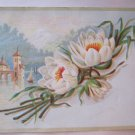 Vintage Greeting Card White Lotus Blossoms Arched Bridge Water Scene Textured Paper 4.5 x 6 Inches