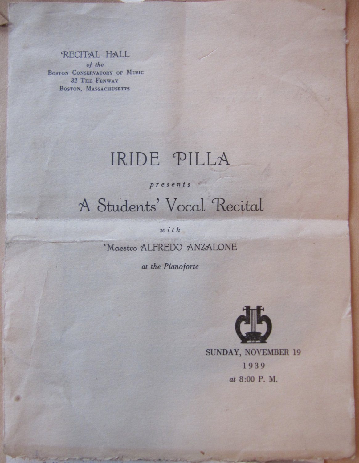 Lot of 9 Vintage 1940s Boston Conservatory of Music Recital and Concert Programs Iride Pilla