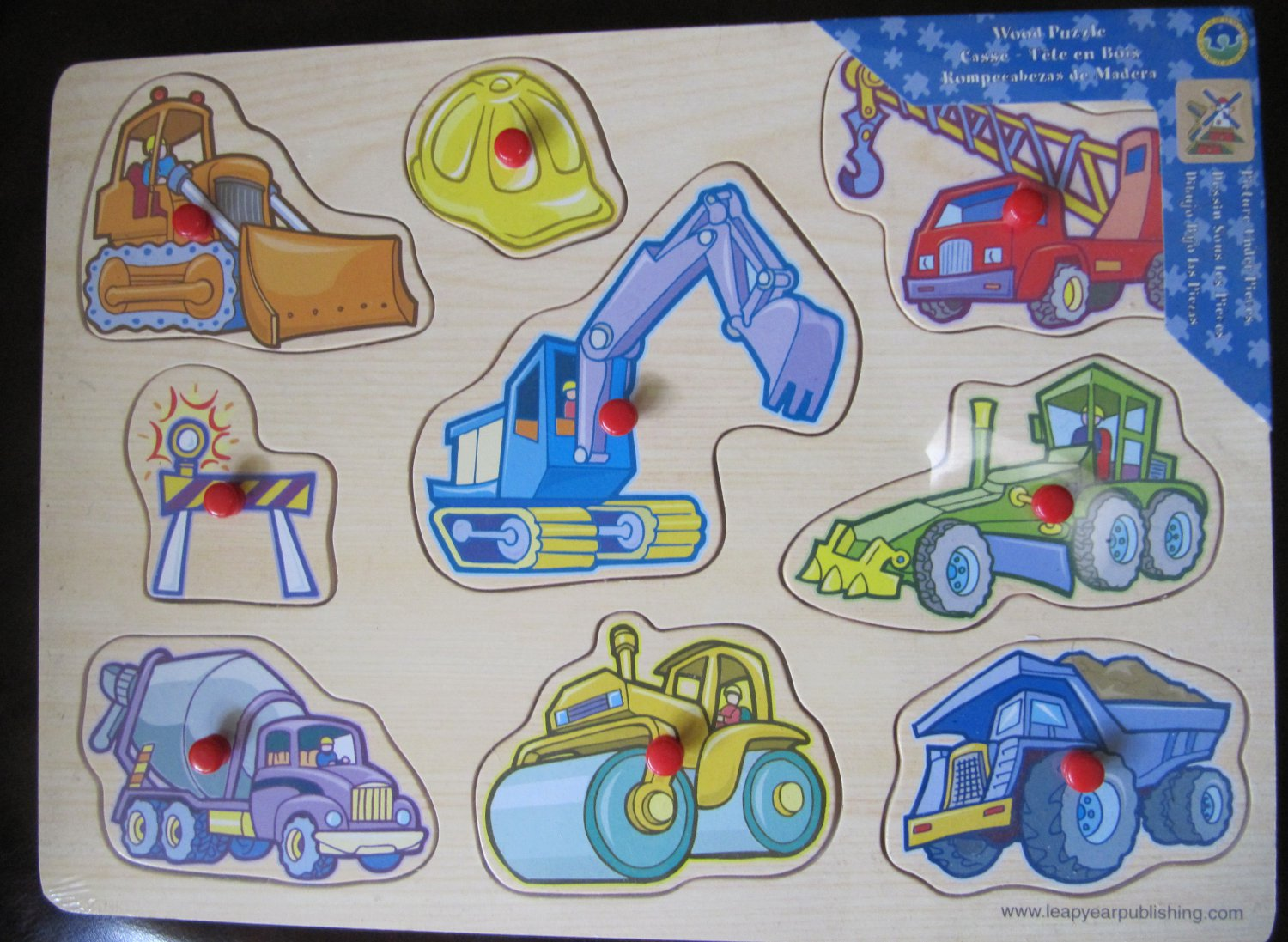 Leap Year Wood Puzzle Construction Equipment 9 Pieces with Knobs 12 x 8.5 In
