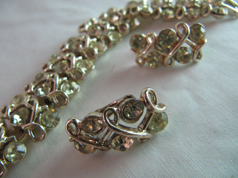 Vintage Coro Bracelet & Clip Earrings Set  Sparkly Pale Yellow Rhinestones Signed