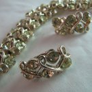 Vintage Coro Bracelet & Clip Earrings Set  Sparkly Pale Yellow Rhinestones Signed