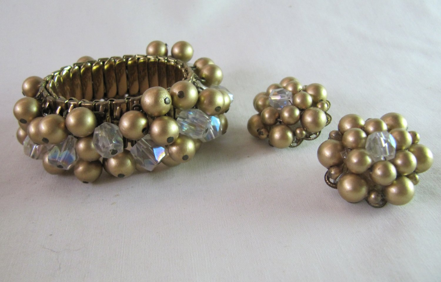 Vintage Bracelet & Clip Earrings Set  Faux Gold Pearls Clear Lucite Beads Stretch Goldtone Band
