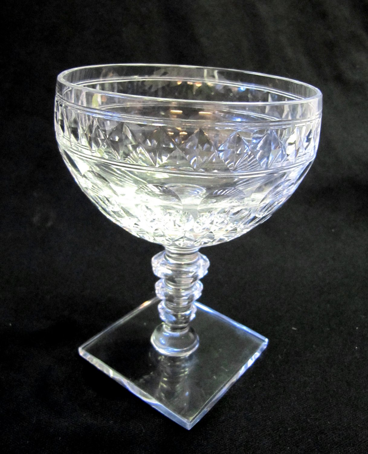"HAWKES Crystal Champagne Sherbet Glass Square Base Clear Notched Stem 4.75"" Tiny Nip in Base CS19-12"