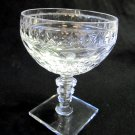 HAWKES Crystal Champagne Sherbet Glass Square Base Clear Notched Stem 4.75 Tiny Chips in Base CS2
