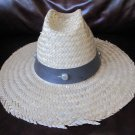 Vintage Wide Brimmed Straw Hat 21.5 Inch Band