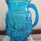 Anchor Hocking Blue Depression Glass Pitcher 2 QT Rainflower
