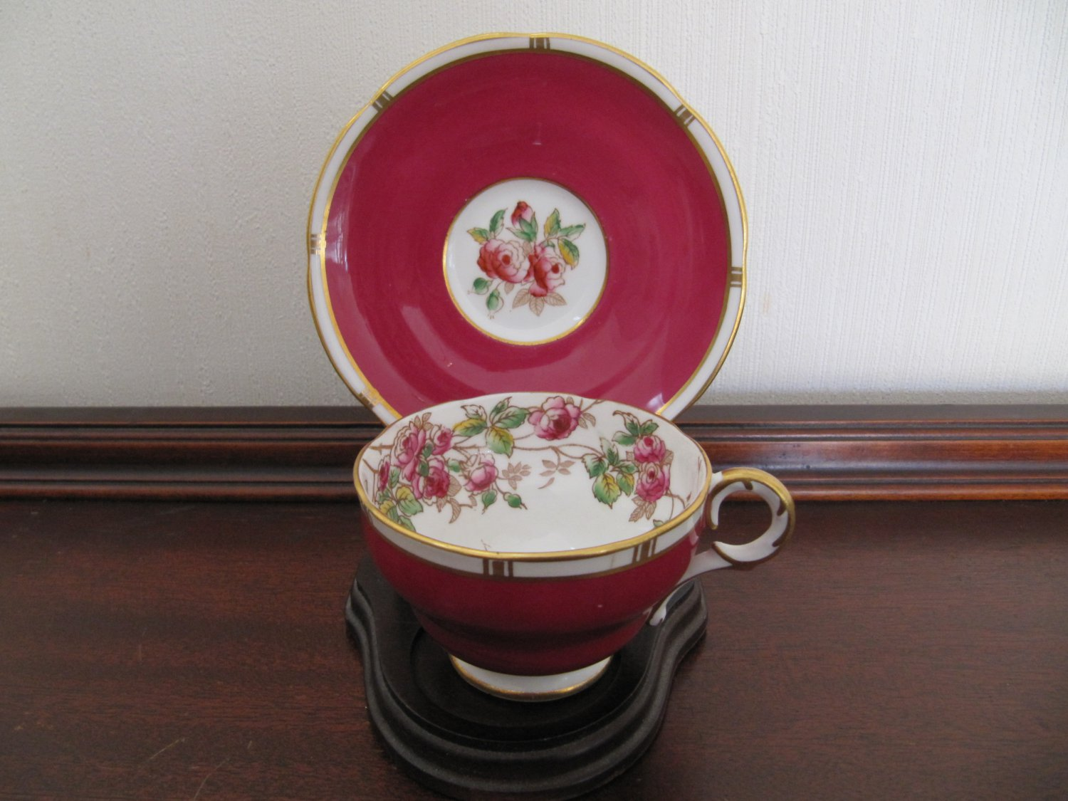 Vintage ADDERLEY Melba Demitasse Footed Cup & Saucer Roses with Rose and White Gold Gilt Trim MINT