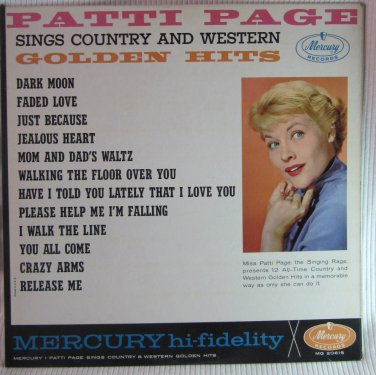 PATTI PAGE Sings Country & Western Golden Hits LP Record Album Mercury MG 20615