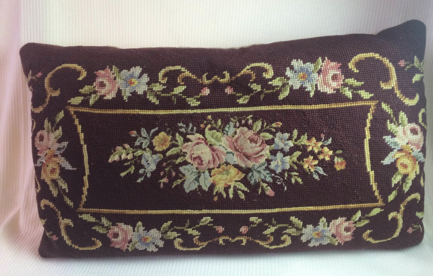 Vintage Needlepoint Pillow Brown w Pink Blue Rose Floral Design 19x11""