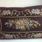 "Vintage Needlepoint Pillow Brown w Pink Blue Rose Floral Design 19x11"""