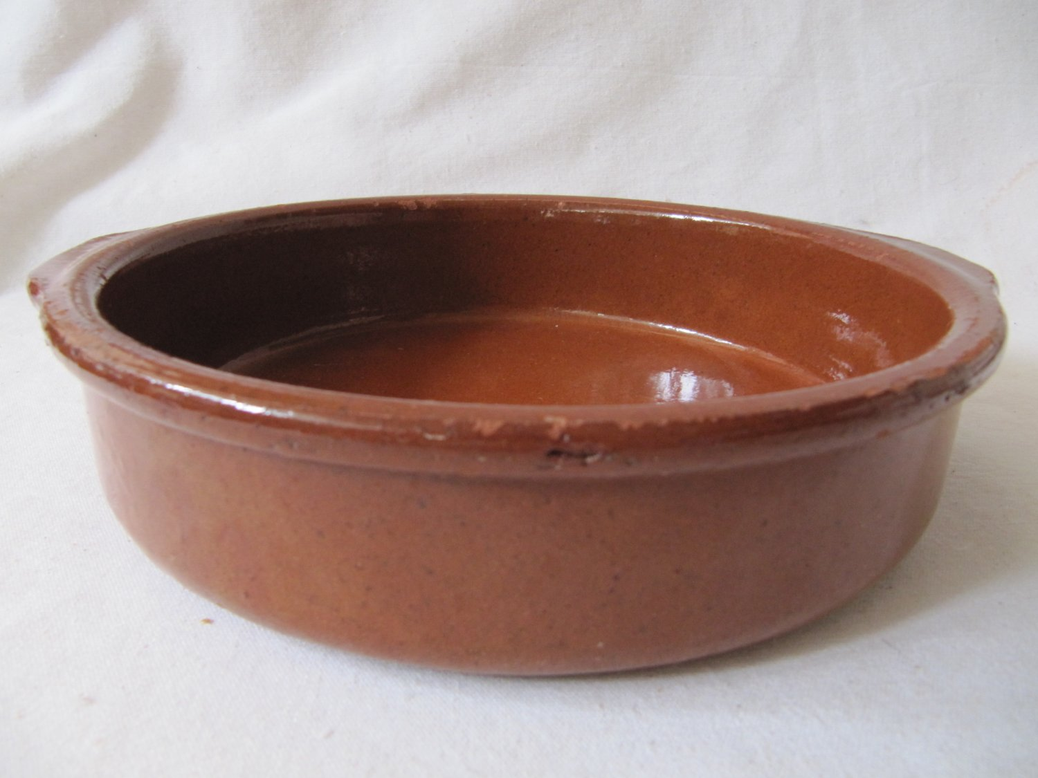 Vintage Mexico Taxco Primitive Heavy Ceramic Pottery Cooking Serving Bowl Dk Brown 8 x 2 Inches