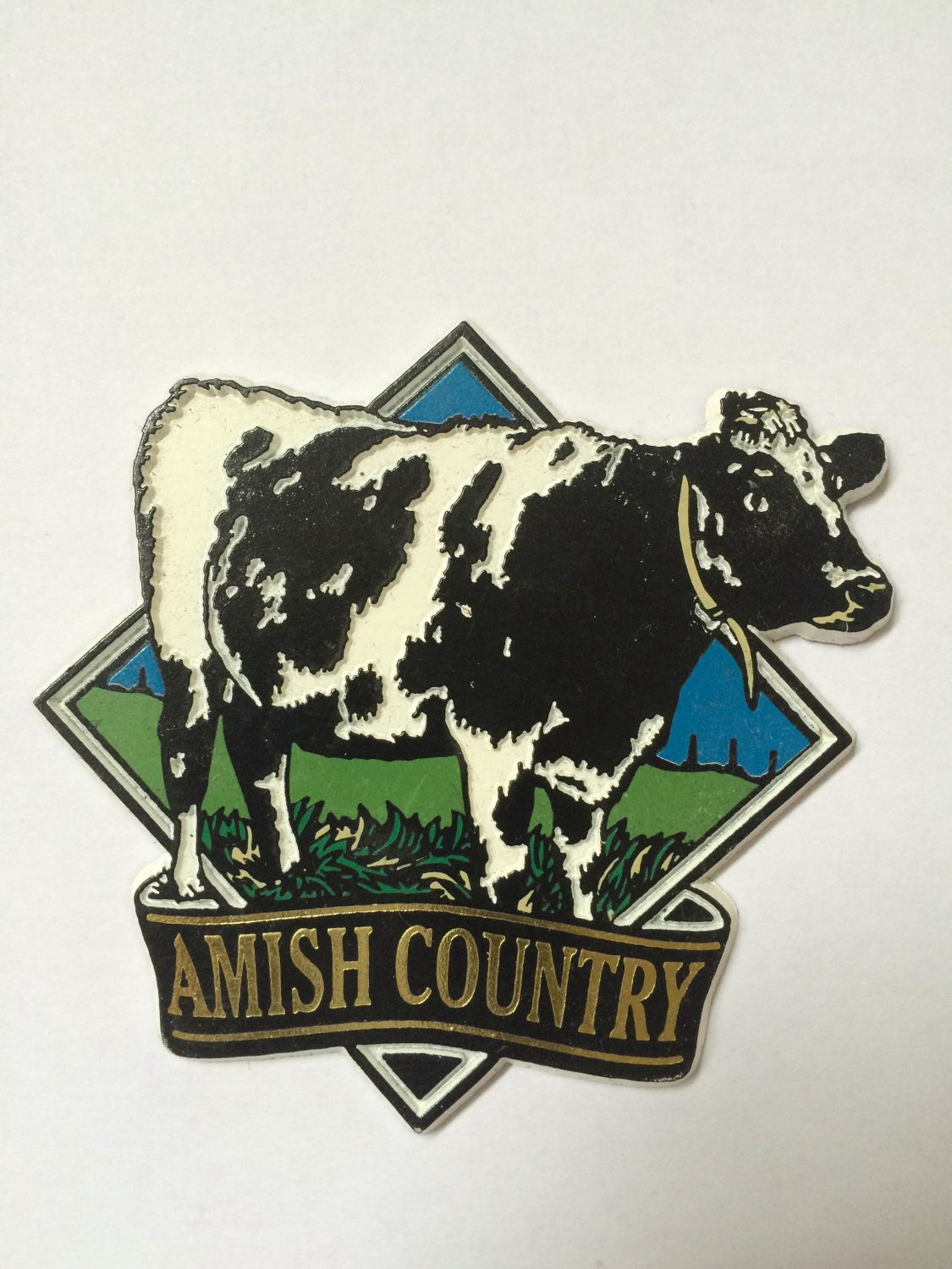 Amish Country Cow Refrigerator Fridge Magnet Black & White 3 Inches