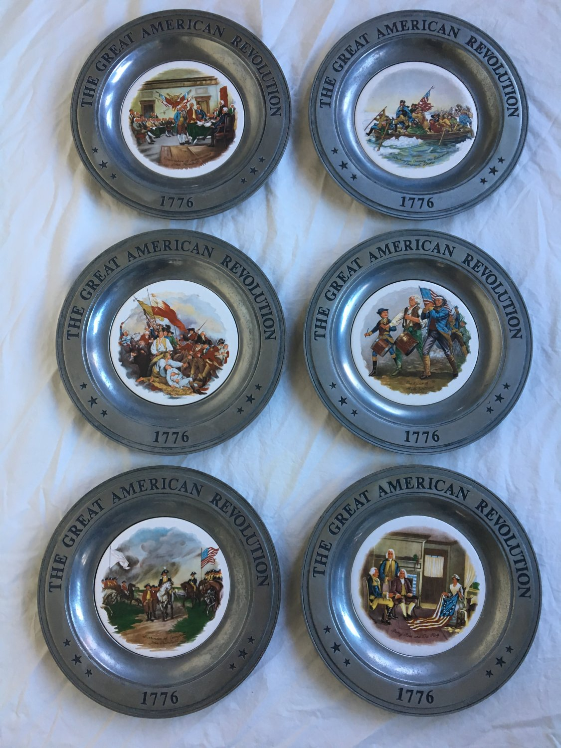 Set of Six American Revolution 1776 Commemorative Plates Pewter Ceramic Artwork