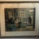 Antique Signed Lithograph L. CHARLET Nouveau Ne (Newborn) in Gilded Wood Frame Med Size