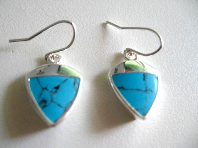 Solid Sterling Silver Triangle Turquoise Earrings