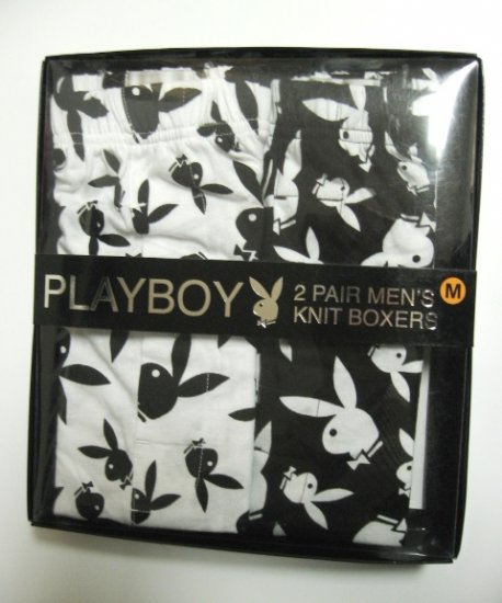PLAYBOY 2 PAIR BLACK/WHITE MEN'S KNIT BOXER GIFT SET, SIZE SMALL