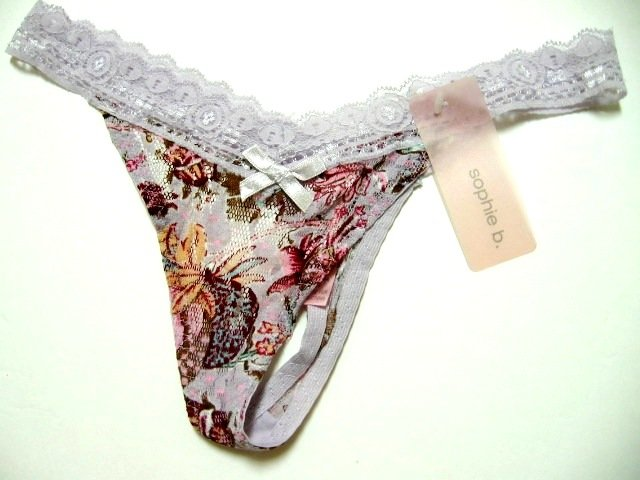 SOPHIE B FLORAL PRINTS ULTRA SOFT SHEER MESH THONG, SIZE SMALL