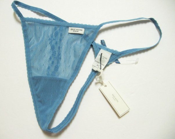 A0383 ABERCROMBIE GILLY HICKS BLUE FLORAL SHEER MESH SKINNY THONG, SIZE LARGE