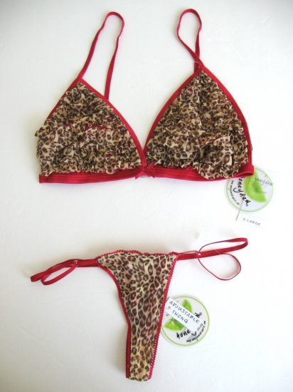 A0028 HONEYDEW GARNET SHEER MESH LEOPARD PRINTS BRA/THONG SET 1707, SIZE  SMALL