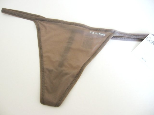 A0075 CALVIN KLEIN GRAY THIN SHEER MICROFIBER G-STRING, D3062, SIZE LARGE