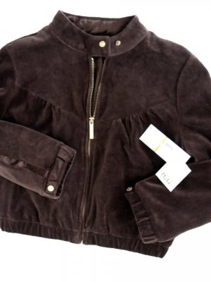 A0504 RED by marc ecko BROWN VELVET 3/4 SLEEVES V CROP TRACK JACKET, SIZE SMALL