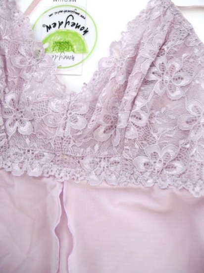 A0405 HONEYDEW LILAC MESH LUXURY LACE CAMISOLE/G-STRING SET 8147, SIZE SMALL